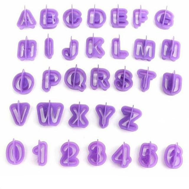 40 Pcs Alphabet Letter Number Fondant Cake Biscuit Baking Mould Cookie Cutters and  stamps 1
