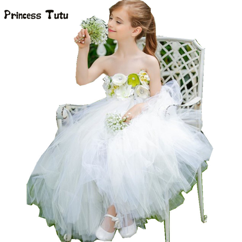 Flower Girl Dresses White Wedding Gowns Baby Girls Tulle Tutu Dress For Kids Pageant Party Costumes For Children Princess Dress
