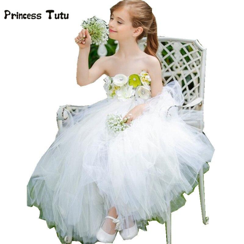 Robes de fille de fleur robes de mariée blanches bébé filles Tulle Tutu robe pour enfants Costumes de fête de reconstitution historique pour enfants robe de princesse