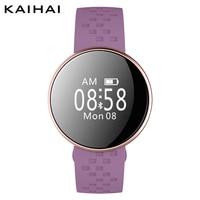 kaihai smart bracelet purple silica belts women wristband caller id remote control Heart rate monitor wrist band ladies watch