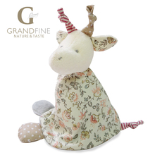 Low price 14cm 100% hand-made beige deer baby doll,cotton linen Eco material ,plush toys for birthday party gift