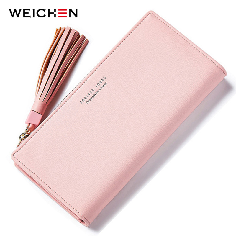 WEICHEN Viele Abteilungen Quaste Frauen Geldbörsen Marke Lange Rosa Kupplung Brieftasche Weibliche Mode Damen Geldbörsen Handy & Karte Halter