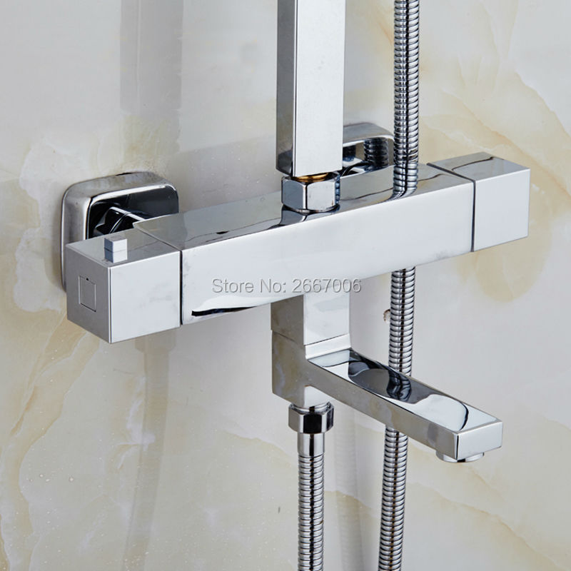 Free Shipping Good quality Square wall mounted bathtub faucet thermostatic valve shower mixer Temprature Control Valve Tap ZR965 free shipping bathtub faucet wall mount bathroom brass thermostatic constant temperature control shower valve faucet tap zr954