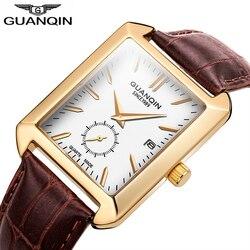 GUANQIN 2018 prostokąt męskie zegarki Top marka luksusowy zegarek męski mężczyźni skórzany zegarek kwarcowy zegarek na rękę mężczyźni wodoodporna Relogio Masculino