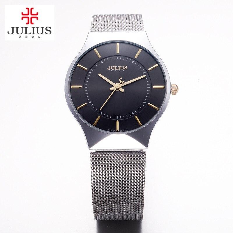 a2cede33e0f6 Top de la moda JULIUS marca de Lujo Relojes de los hombres reloj de Cuarzo  de la correa de Malla De Acero Inoxidable Ultra Delgado Dial Reloj hombre  del ...