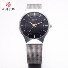 Top de la moda JULIUS marca de Lujo Relojes de los hombres reloj de Cuarzo de la correa de Malla De Acero Inoxidable Ultra Delgado Dial Reloj hombre del relogio masculino