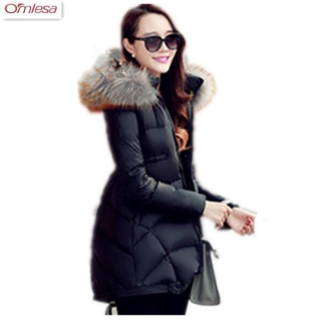 OMLESA 2017 Winter Jacket Women Fur Collar White Duck Down Coats Long Thick Jackets Womens Winter Coat ZA428