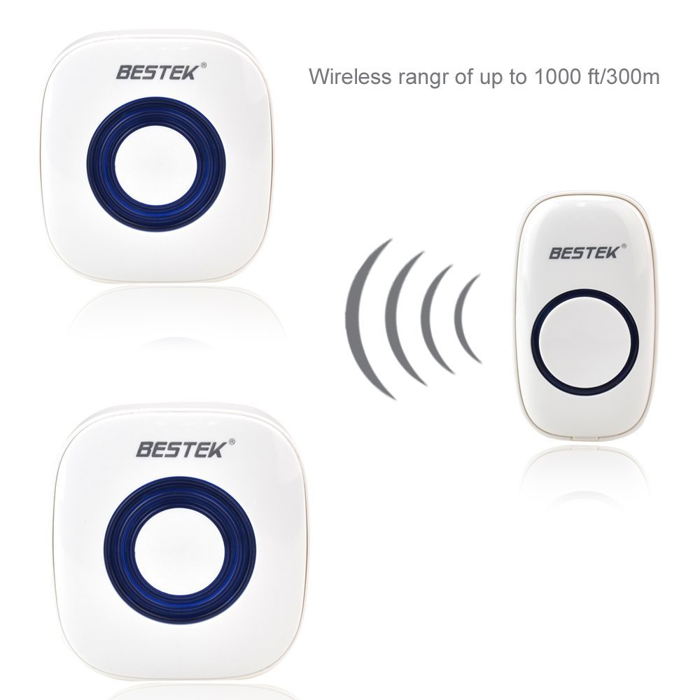 BESTEK Door Bell Wireless Doorbell 2 Receivers 300m/1000ft Range Battery Powered + EU Plug Remote Control 52 Chimes 2 Receivers 2 receivers 60 buzzers wireless restaurant buzzer caller table call calling button waiter pager system