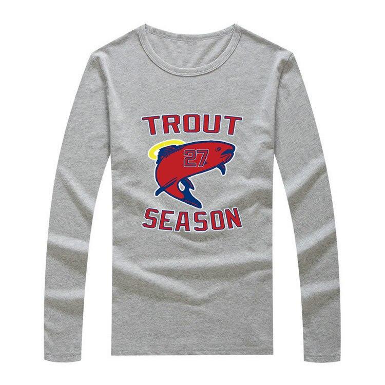 ce3cbace7 2017 Autumn Winter #27 Mike Trout Trout SEASON Men T-Shirt Long Sleeve Tees  T SHIRT Men's Los Angeles W1203015
