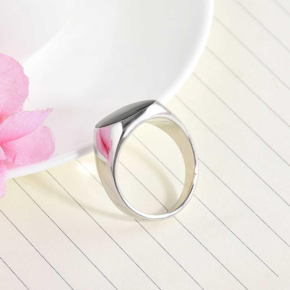 Banda de Aço Inoxidável Polido sólidos Biker men anel Signet Anel Dedo Jóias Presente famoso designer anéis pretos para os homens/ mulheres