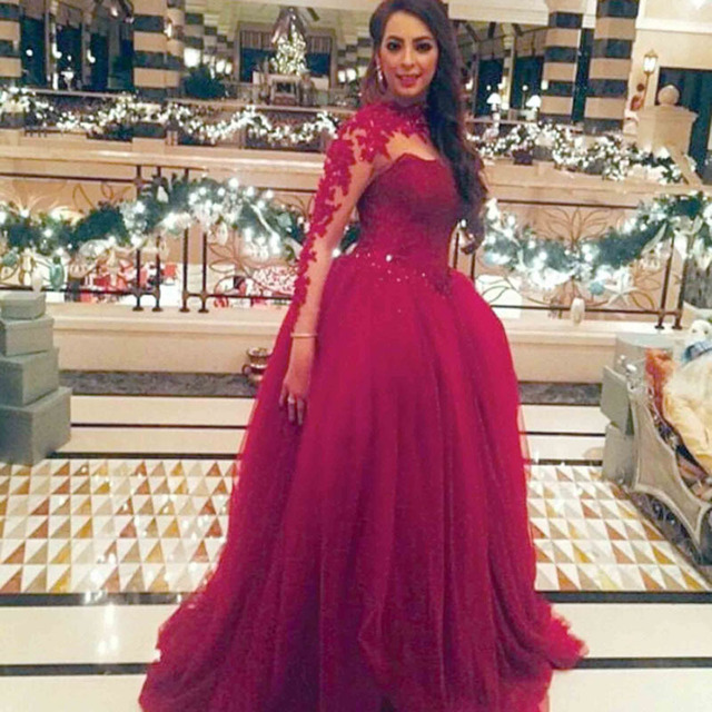 acabcbfaa9 vestido de noiva Fashion Burgandy High Collar Appliqued Beaded Long Sleeve  Prom weddings bridal gown mother of the bride Dresses