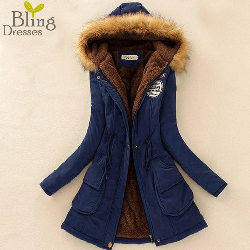 Autumn Warm Winter Jacket Women Fashion Women s Fur Collar Coats Jackets for Lady Long Slim