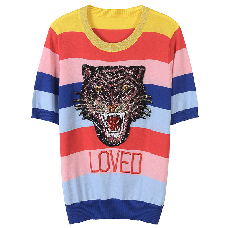 Luxury Tiger Sequins Embroidery Knitted Shirt Women 2018 Runway Rainbow Striped Half Sleeve Female T-Shirt Summer Tops Clothing