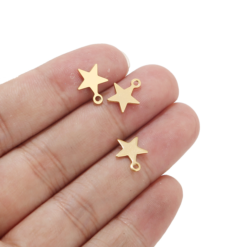 20pcs Stainless Steel Gold Tone Tiny Star Charms For Bracelet Jewelry Making Accessories