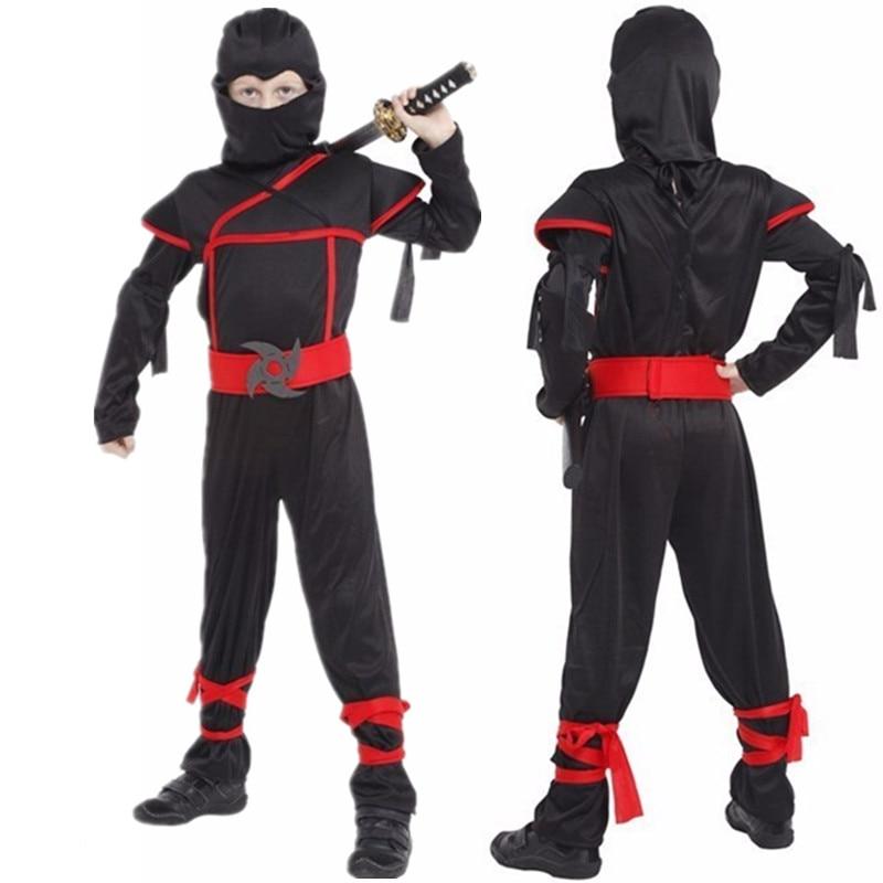 Kids Ninja Costumes Halloween Party Boys Girls Black Ninja Warrior Costumes Children's Day Cosplay Party Game Gift