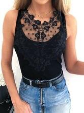 Lace Sleeveless Tunic T-Shirt Summer Sexy Black Sleeveless Slim Solid O-Neck T-shirt Ladies Top Tee Causal T-shirt недорого