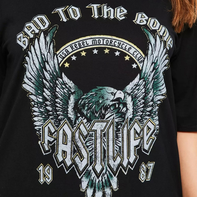 Black Casual Loose Cotton Punk T Shirt Dress
