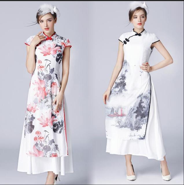 708319ae483 2017 New Summer Vietnam ao dai Art painting Cheongsam dress