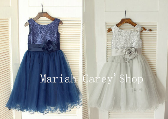 4e8a1b198 Navy Blue/Silver Sequin and net, Flower Girl Dress Children, Party Dress  for 2014 Wedding For Free shipping