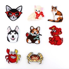 1Pcs Cute Crab Dog Cat Animal  Iron On Patches Sew-on Embroidered Patch Motif Applique For Clothing Sewing Tools