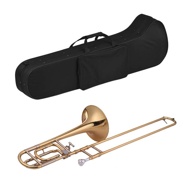 Muslady Trombone Intermediate Bb Flat Tenor Slide Trombone with F  Attachment with Mouthpiece Carry Case Gloves Cleaning Cloth