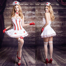 Women Sexy Lingerie Hot Erotic Costume Nurse Cosplay Babydoll Dress White Lace Porno