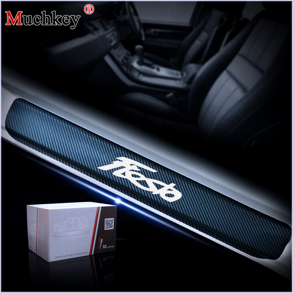 4Pcs Car Door Sill Scuff Plate For Ford Fiesta Car Welcome Pedal Decoration Stickers Door Threshold Plate 4D Carbon Fiber Vinyl