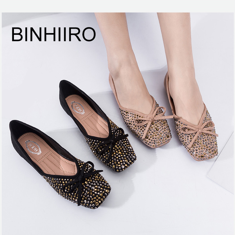 BINHIIRO Summer Womens Flats Flock Rivet Casual Square Toe Flats Woman Fashion Comfortable Slip-on Soft Bottom Flat Shoes 2019BINHIIRO Summer Womens Flats Flock Rivet Casual Square Toe Flats Woman Fashion Comfortable Slip-on Soft Bottom Flat Shoes 2019