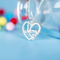 Custom Name Necklace Personalized Heart Necklaces Pendants For Mom Hollow 990 Sterling Silver Jewelry Best Gift CJ 003