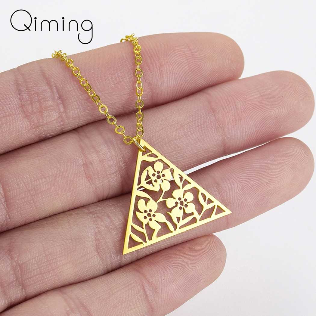 Gold Flower Triangle Necklace Vintage Tibetan Retro Jewelry Boho Style Gift For Her Art Deco Pendant Chain Necklace Gifts
