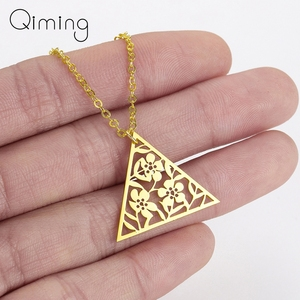 Gold Flower Triangle Necklace Vintage Tibetan Retro Jewelry Boho Style Gift For Her Art Deco Pendant Chain Necklace Gifts(China)