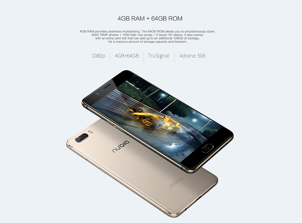 Nubia M2 5.5inch Mobile Phone Snapdragon 625 Octa Core 4GB RAM 64GB128GB 16.0MP Dual Rear 4G LTE Fingerprint 19201080Pixel 6