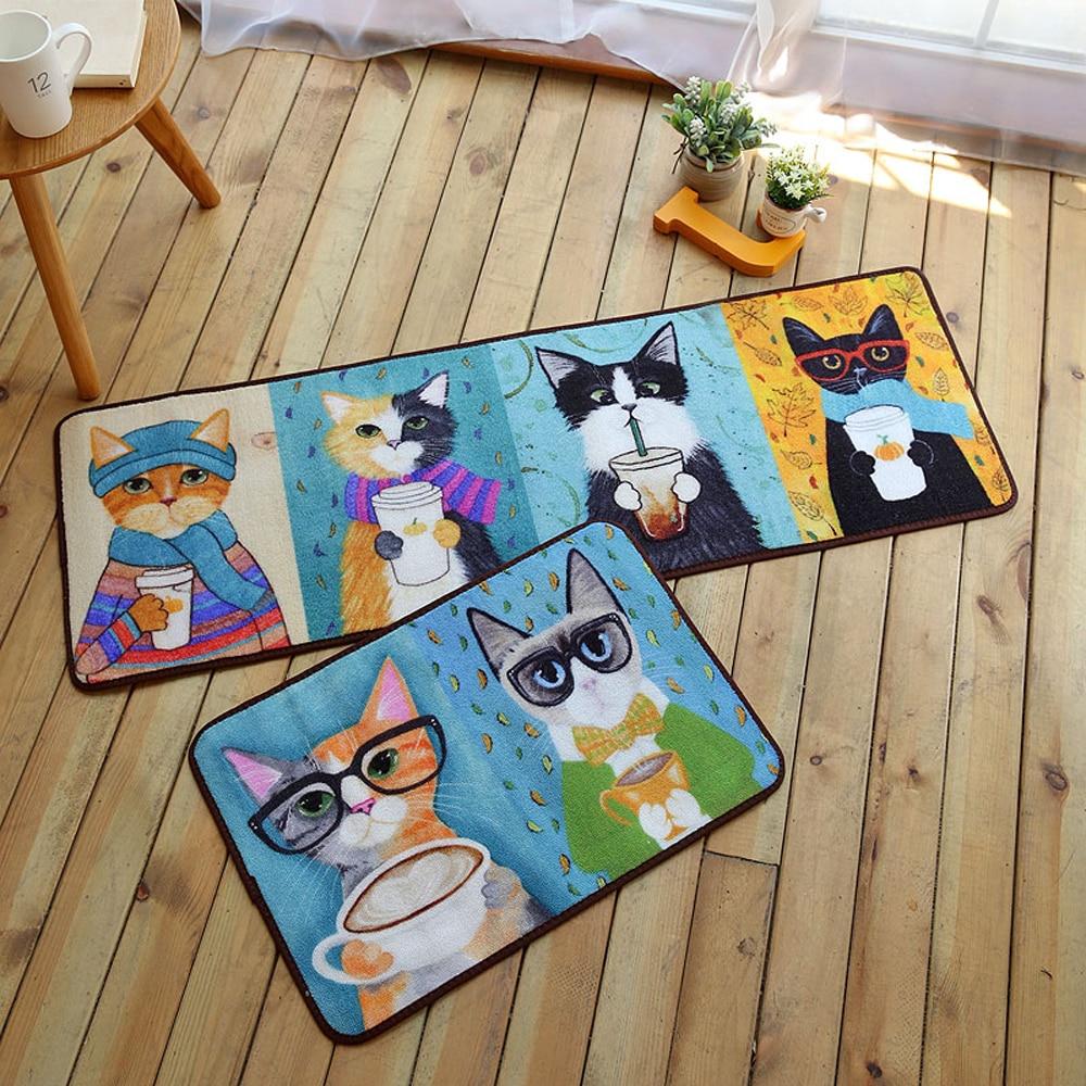 Korean Cartoon Cat Cool Drink Rug Kitchen Mat Cute Meow Star Carpet ...
