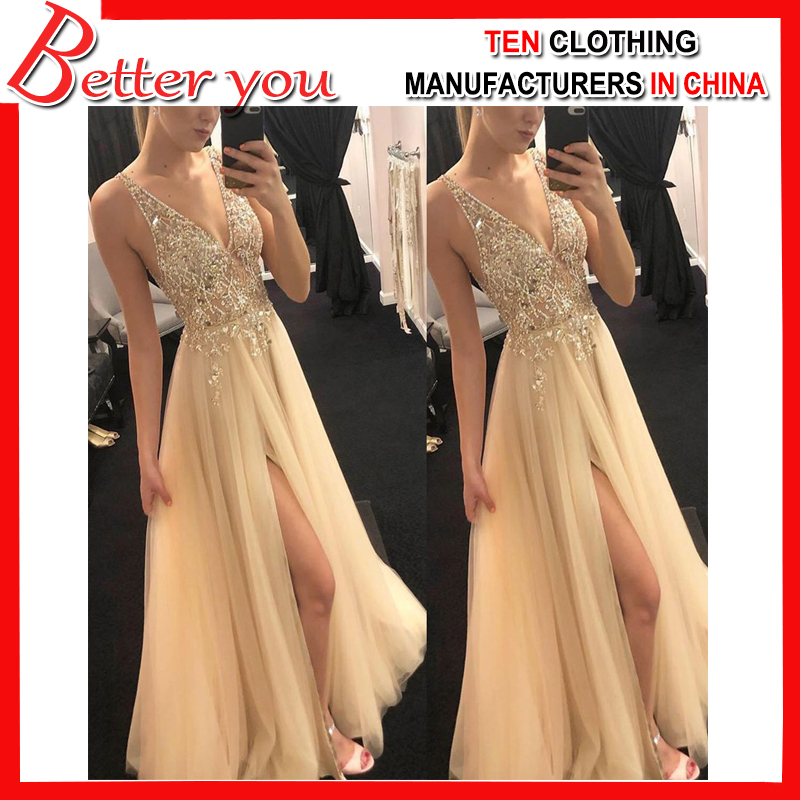 2019 Fashion Women dress gold color top quality elegant sexy V neck sleeveless dress maxi dress party club women dress