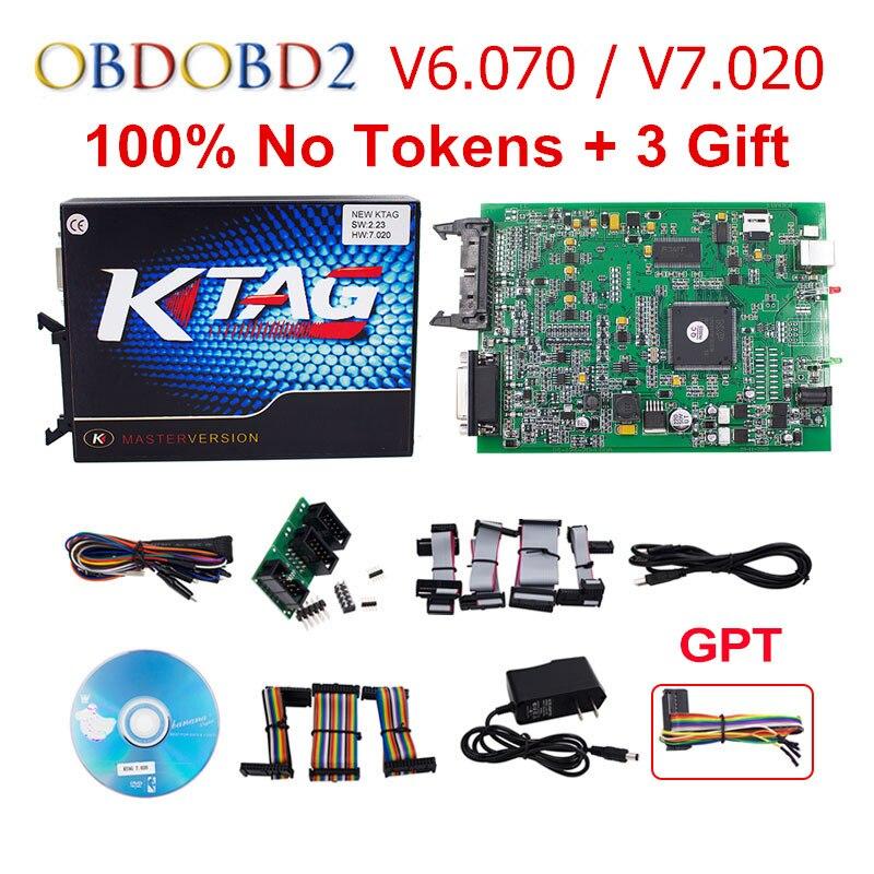 Online Master 7.020 KTAG V7.020 V2.23 KTAG V6.070 V2.13 ECU Sintonia programmatore K TAG No Token Limite K-TAG Per Auto Camion 3 regalo