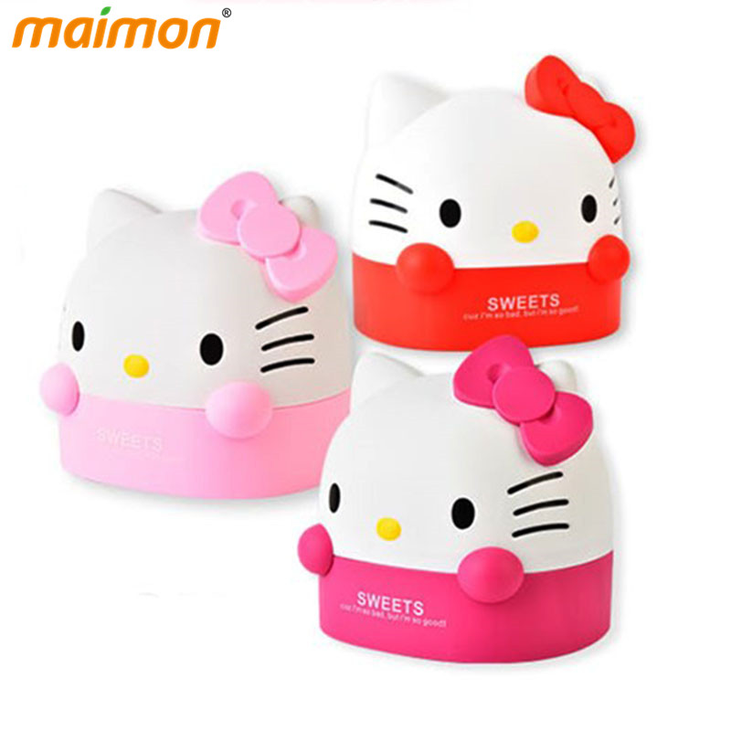 Table Decorative Cute Hello Kitty Roll Paper Storage Boxes Home Office Desktop Plastic Cat Tissue Container Paper Organizer Box ...