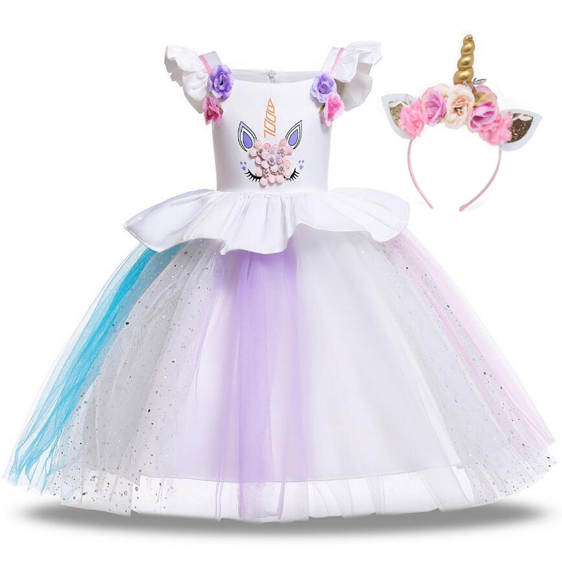 38741601a8101 Fancy Kids Unicorn Rainbow Flowers Tutu Dresses Ruffle Flying Sleeve for  Girls Princess Dresses Birthday Theme Party Costumes