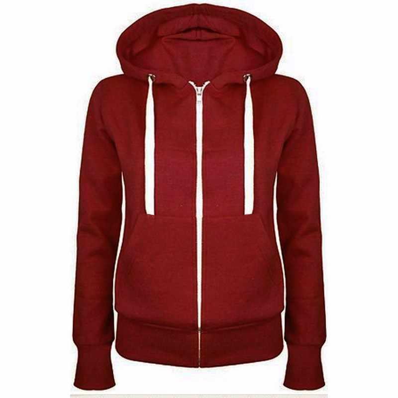 Осенне-зимнее пальто для женщин 2018 Модная Повседневная Длинная куртка на молнии с капюшоном Толстовка винтажная плюс размер верхняя одежда черное пальто