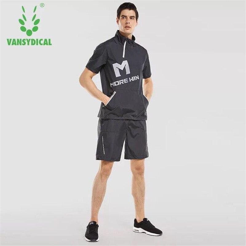 Été Hommes Sport Costume Chaud Sueur Couler Ensemble Fitness Perdre Du Poids 2 pcs Formation Costumes Gym Fitness Jogging Sportswear Réfléchissants