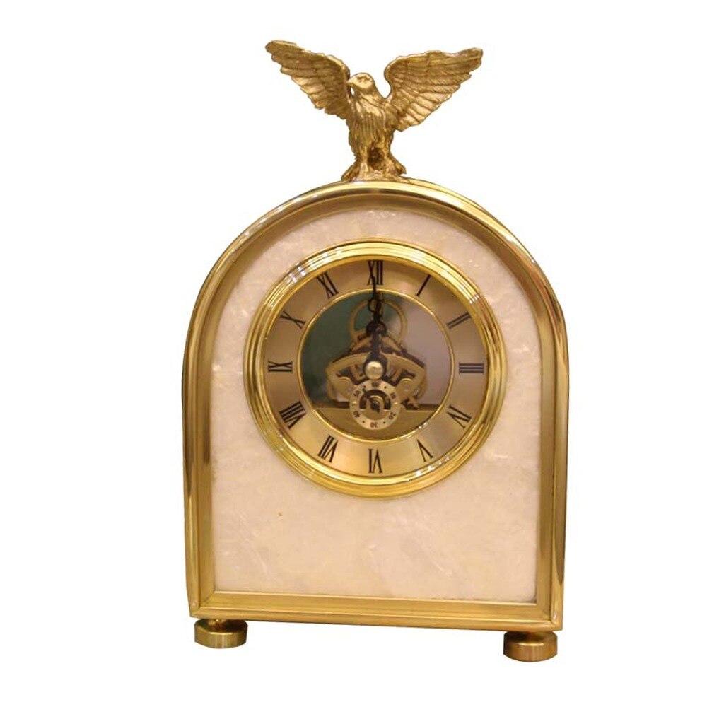 1 шт. Американский свет Роскошные чистая бронза часы «Орел» спальня прикроватные настольные часы европейские аксессуары маятниковые часы