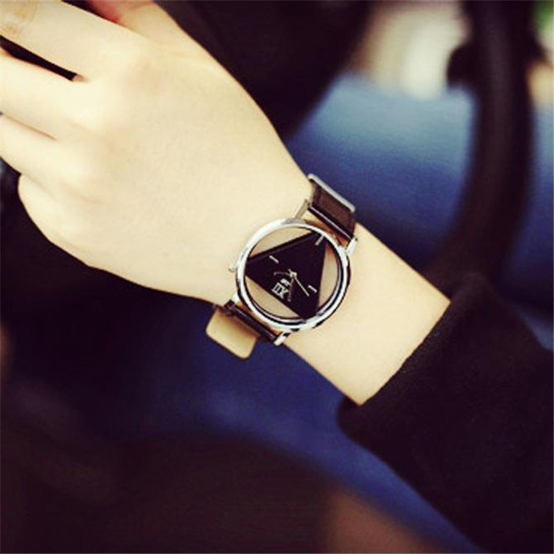 Unique Hollowed-out Triangular Dial Fashion Women Watch