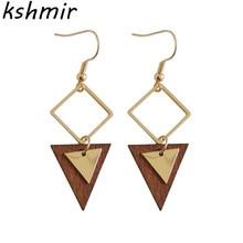 Fashion design restoring ancient ways triangular wood Gao Jian about female temperament beautiful delicate pendant earrings li gao
