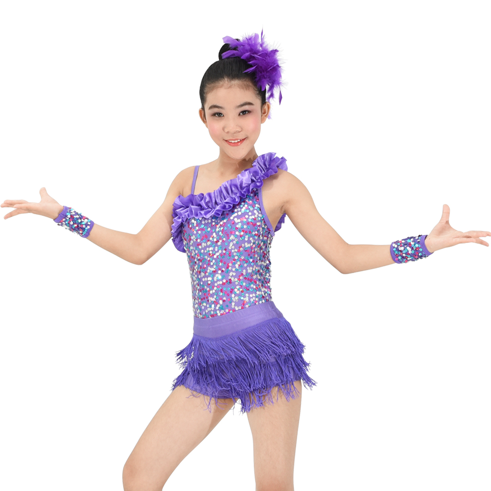 Latin Dance Dress One Shoulder Pailletter Stage Tassel Dance Costume Kids Dancewear For Girls