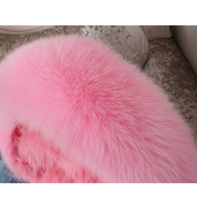 Real Fox Fur Lined Denim Jacket