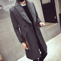 2017 Long Trench Coats Mens Fur Collar Long Coats Double Breasted Gabardina Mens Overcoat Slim Fit Woolen Winter Jacket Vintage