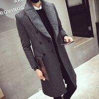 2017 Uzun Hendek Palto Erkek Kürk Yaka Uzun Palto Kruvaze Gabardina Mens Palto Slim Fit Yün Kış Ceket Bağbozumu