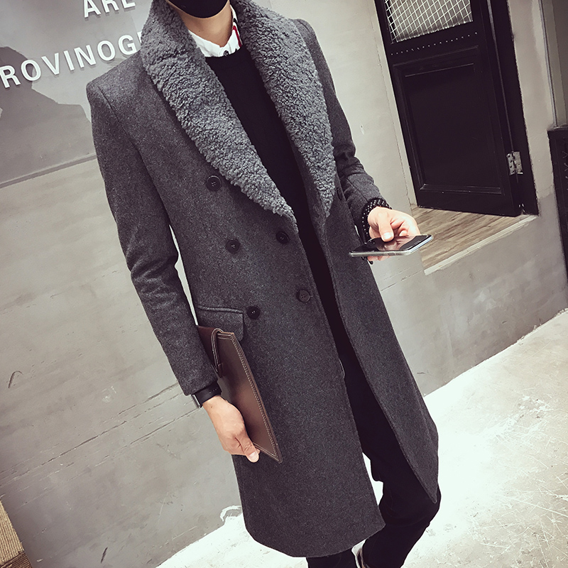 2018 Long Trench Coats Mens Fur Collar Long Coats Double Breasted Gabardina Mens Overcoat Slim Fit Woolen Winter Jacket Vintage