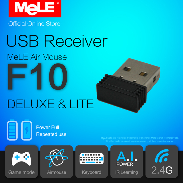 2.4GHz USB Receiver for MeLE F10 Deluxe and F10 Lite Fly Air Mouse Wireless Keyboard Remote Control