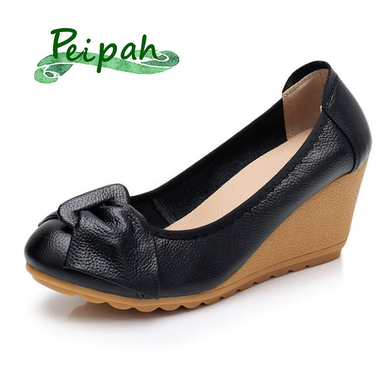 PEIPAH Classics Mary Janes Genuine Leather Women Platform Shoes High Heeled Women's Pumps Solid Female Mother Shoes Wedges