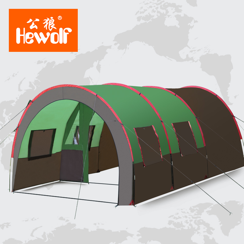 Free Shipping 6-10 Person Large Family Tent Camping Tent Sun Shelter Gazebo Party Tent Tunnel Tent One Room Two Hall in one person
